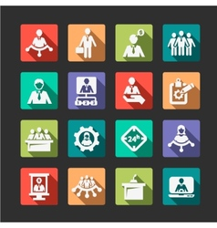 Flat human resources and management icons vector