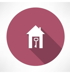 Key in the house icon vector