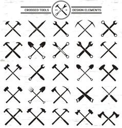 Crossed tools design elements vector