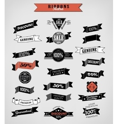 Guarantee and sale labels ribbons vector