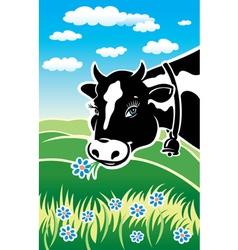 Kind cow on a meadow vector