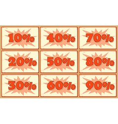 Set of labels with sale percents vector