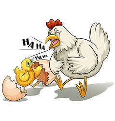 A hen and a chick vector