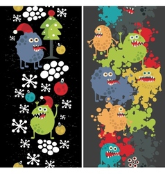 Two vertical seamless patterns with monsters vector