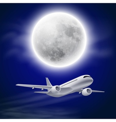 Airplane in the night sky with moon vector