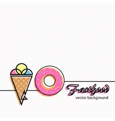Fastfood icons background vector
