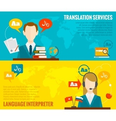 Translation and dictionary banners set flat vector