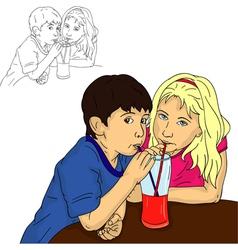 Boy and girl drinks vector