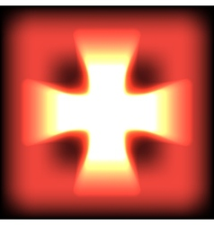 Abstract burning orange glow cross vector