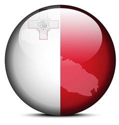 Map on flag button of malta vector
