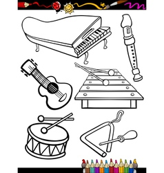 Cartoon music instruments coloring page vector