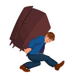 Cartoon man holding heavy furniture vector
