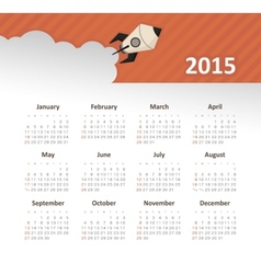 Calendar 2015 year with rocket vector