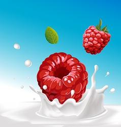 Splash of milk with raspberry - with blue ba vector