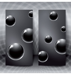 Abstract figures with black glass balls inside vector