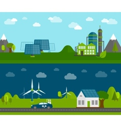 Eco energy flat banners set vector