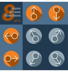Set of eight icons with arrows in all directions vector
