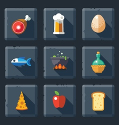 Relief food game icon set vector