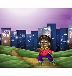 A black man dancing across the tall buildings vector