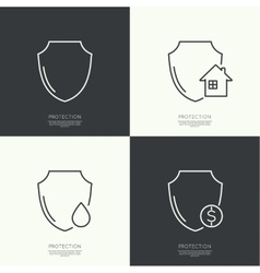 Set icons of protection vector