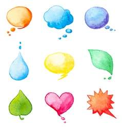 Set of watercolor design elements vector
