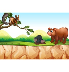 Animals and cliff vector