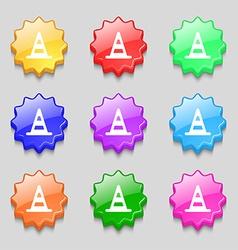 Road cone icon sign symbol on nine wavy colourful vector