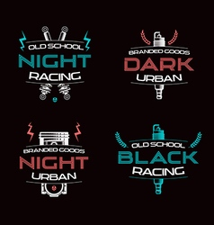 Dark racing urban badges vector