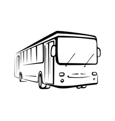 Bus sketch isolated oi black outlines vector