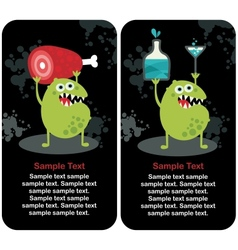 Cute monster microbe and meat with drink vector