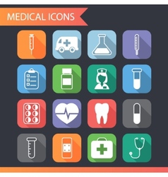 Retro flat medical icons and symbols set vector