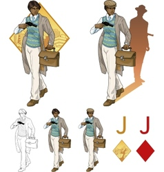 Jack of diamonds afroamerican boy with a gun mafia vector