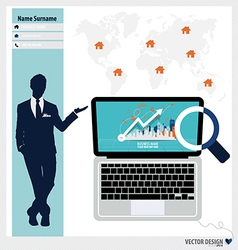 Modern laptop business working elements for web vector