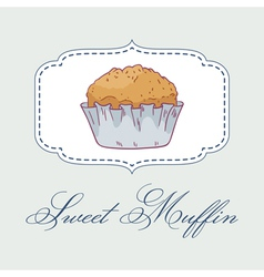 Pastry shop label with muffin vector