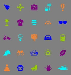 Hipster icons fluorescent color on gray background vector