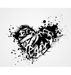 Broken heart grunge vector