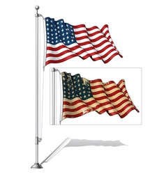 Flag pole us flag wwi wwii 48 stars vector