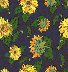 Seamless sunflower pattern vector