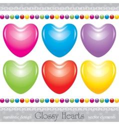 Glossy hearts set vector