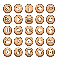 Wooden round video game buttons vector
