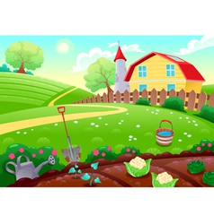 Funny countryside scenery with vegetable garden vector