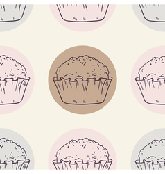 Retro seamless pattern with muffins vector