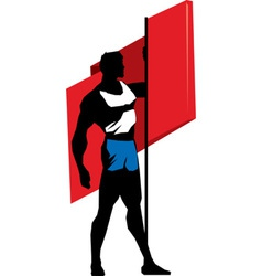 Sportsman with flag vector