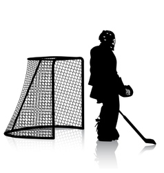 Silhouettes of hockey player isolated on white vector
