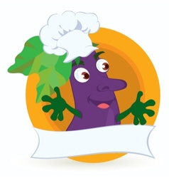 Eggplant cartoon character with promo ribbon vector