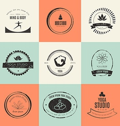 Yoga logotypes collection vector