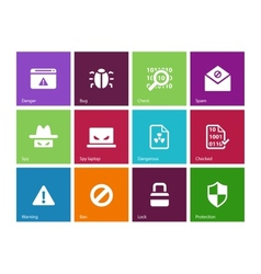 Security icons on color background vector