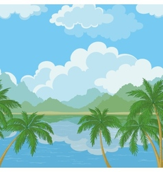 Seamless landscape sea and palm trees vector