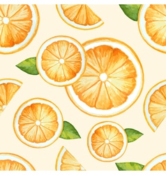 Orange seamless pattern watercolor fruit vector