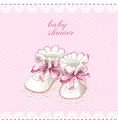 Pink booties baby shower card vector